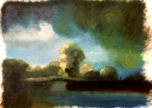 "Study of Rembrandt's ""The Stone Bridge"", oil 5""x7"""